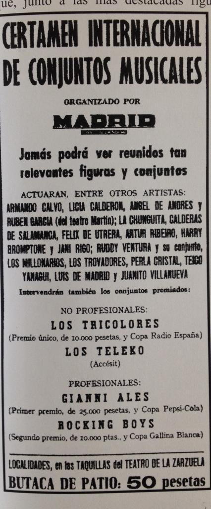RESULTADO CERTAMEN 1961 DIARIO MADRID